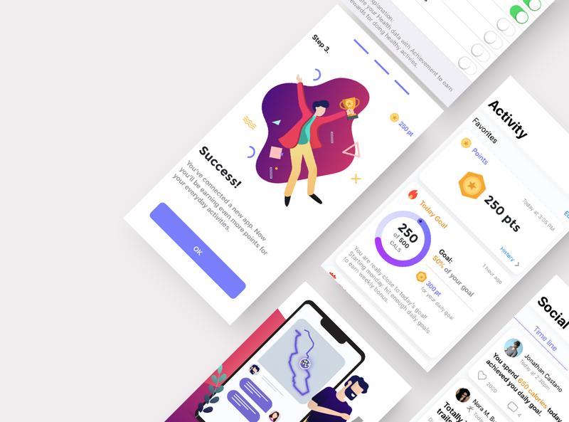 Healthy Platform illustrations prototype web interactive responsive clean app ios design ui ux