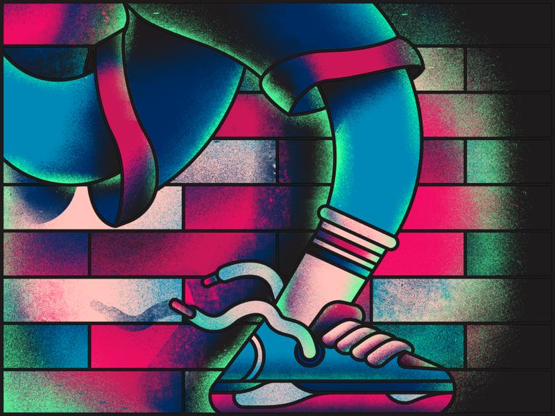 Strip Run wall bricks run design illustrator illustration graffiti