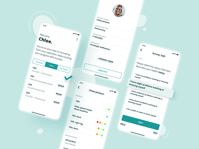 SPINEHealthie — Recovery follow-up accessibility simple follow recovery health accessible interface uxui mobile app