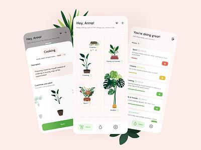 Productivity App Concept management watering plants engaging playful warm concept productivity uiux mobile app
