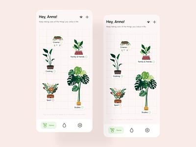 Productivity App Concept — Micro-interactions fun playful interaction lifestyle plants tasks management productivity mobile app uiux