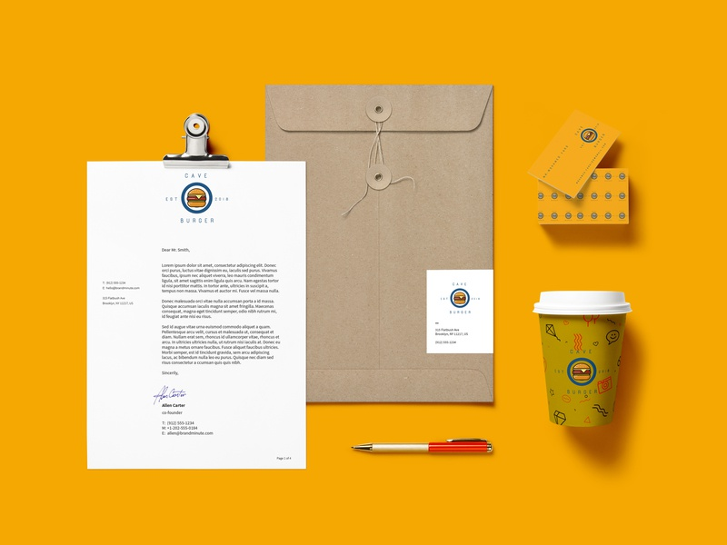 cave burger branding card coffe adobephotoshop graphic design art direction mock up logo design logo idenity branding brand design brand