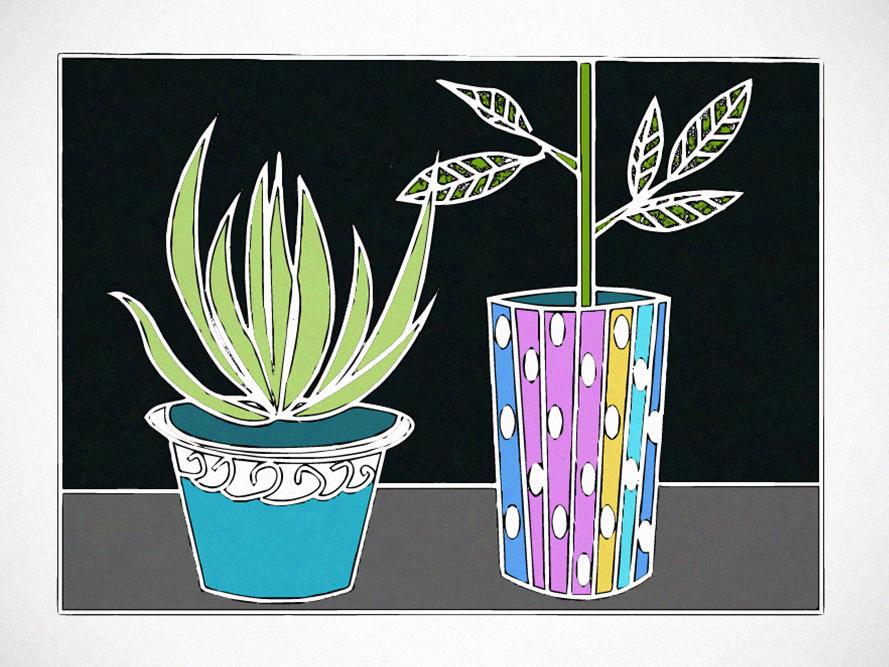 Plants blue grain composition adobe illustrator designer illustrator art adobe creative suite vector graphic design flat illustration design clean