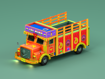 Indian Truck web design maxonc4d animation toy truck modelling behance vehicles india illustation cinema 4d 3d animation 3d