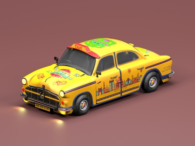 Indian Taxi web toy vehicles icon animation india illustration modelling maxonc4d design cinema 4d behance 3d 3d animation