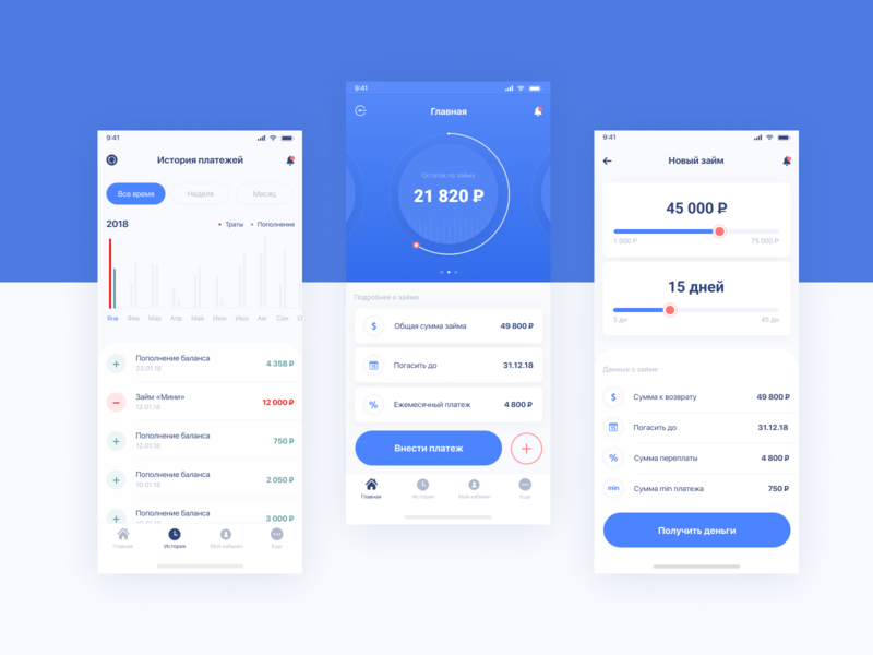 ios_app_loan_concept figma ui  ux an exquisite beast schedule money material blue credit bank concept loan app android ios
