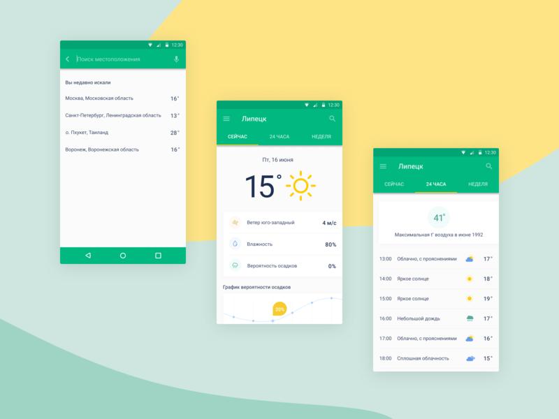 android_app_weather_concept weather sun rain design ui minimalism figma concept app android