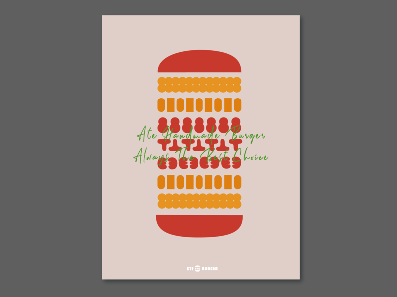 Brand Design : 8te Burger visual food color layout illustration design graphic icon branding vi