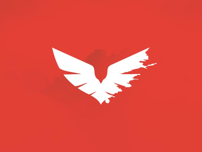 Vermilion clean design red negativespace creative symbol logo