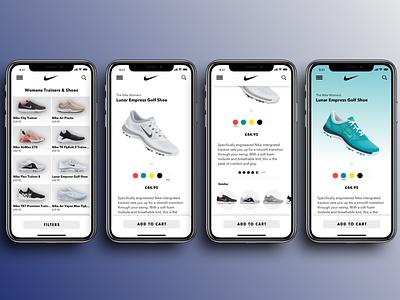 Nike Womens Shoes App flat app branding ux ui design