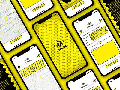 Beehive charity concept app ux ui sketchapp sketch branding flat design