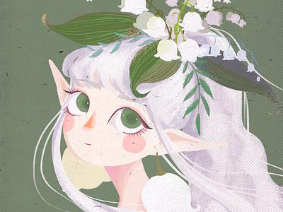Flower illustration girl