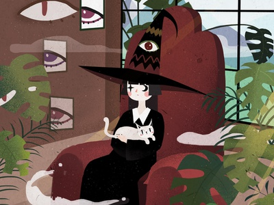 Witch on the couch cat magical illustration girl