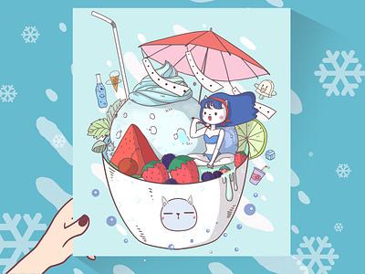 Miss Cat's summer dream miss cat illustration girl