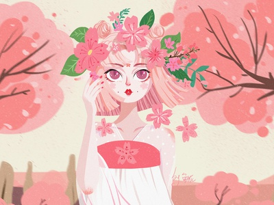 Cherry blossoms girl illustration