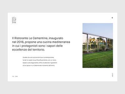 Le Cementine restaraunt app design designinspirations branding animation ui minimal web typography ux design ux