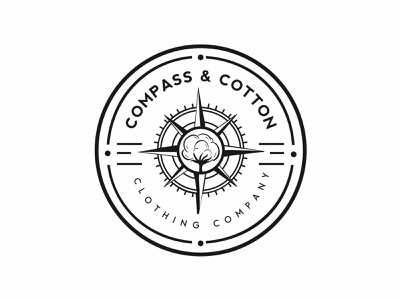 Compass and Cotton Literal Logo brandidentity brand businesslogo clothing brand tshirt compass logodesign shot logodesigner logo