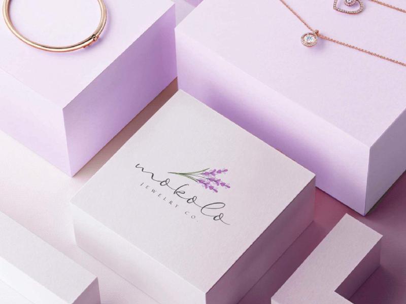 Jewellery Brand Logo Design company logo business logo jewelry company purple feminine logo designer shot dribbble shot accessories brand logo jewellery logo logo design floral lavender