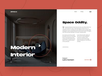 Space Oddity - Website concept modern interior slider photo mainpage main typography grid pallete figma color clean design ux ui interface website web concept arounda