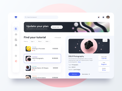 Elearn - Dashboard concept for Educational platform online e-learning interface web edtech product design saas product page ux ui learning platform application app dashboard design concept education study