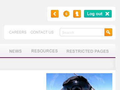 Notify notify orange login logout search button menu navigation header
