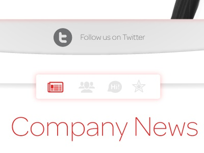 Follow Us! twitter social icon iconography white red gradient shadow news