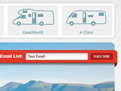Type Selection & Email Signup motorhome email red ui website sign up