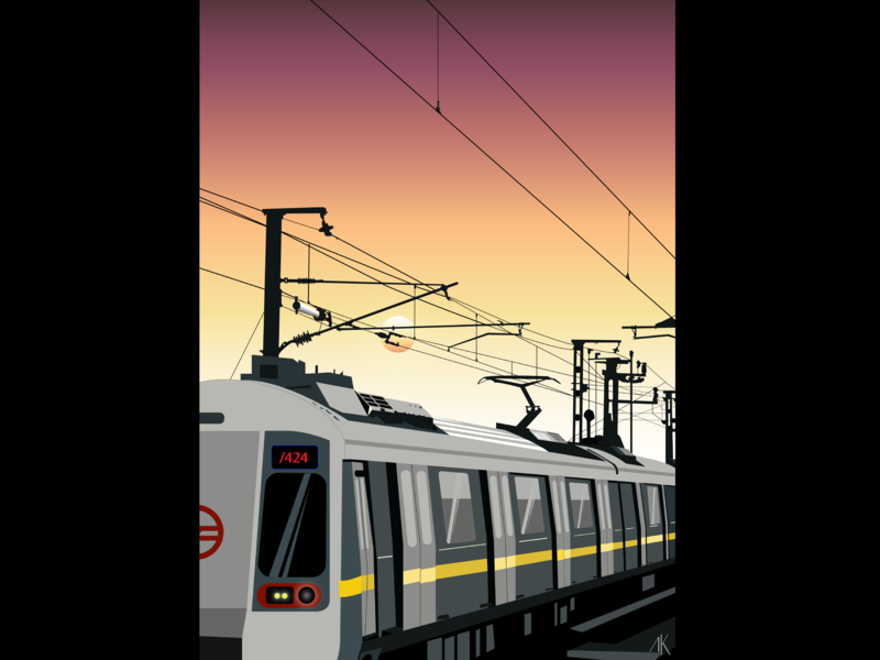 Delhi Metro vector inktober illustration flat design