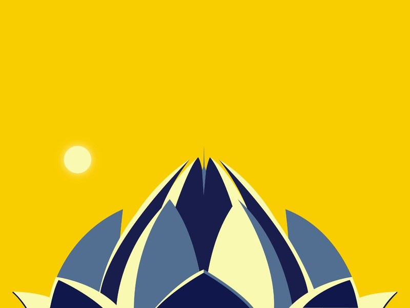 Lotus Temple lotus temple delhi architecture vector illustration flat design