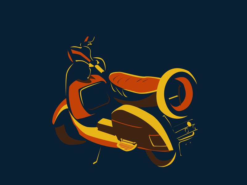 Scooter transportation transport scooter vehicle india vector illustration flat design
