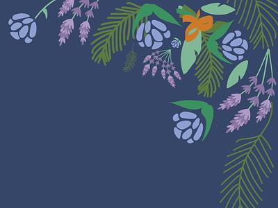 Bridal Shower Invites forest illustration bouquets ribbons leaves pine lavender wedding floral