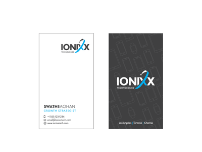 Ionixx Business Card marketing collateral blue and gray app tech company white space marketing graphic design illustration design