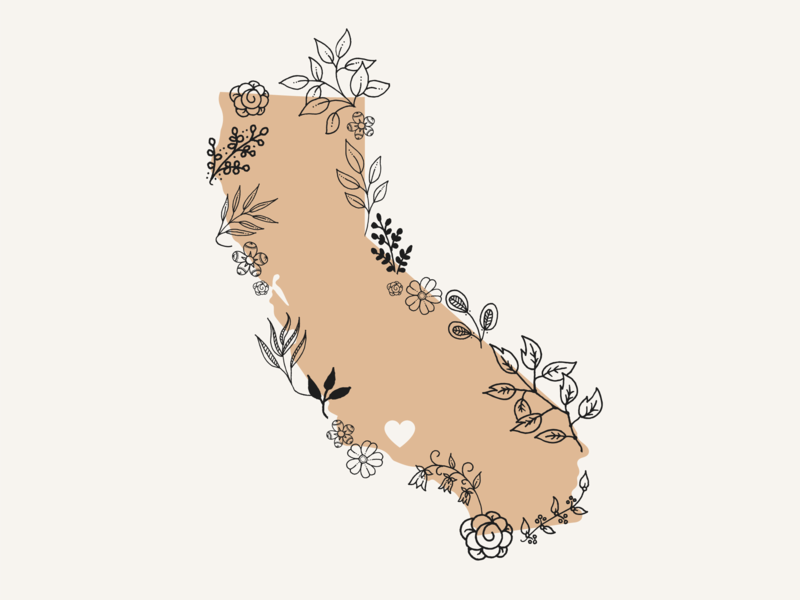 California ventura county ventura greenery california state maps botanical flowers floral vector graphic design illustration design