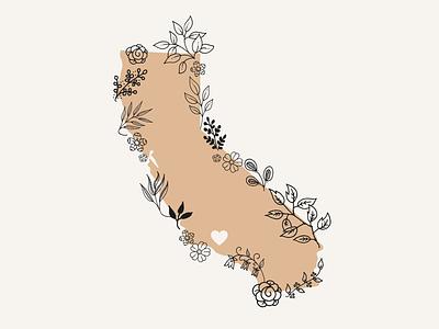 California ventura county ventura greenery california state maps botanical flowers floral vector graphic design illustration design