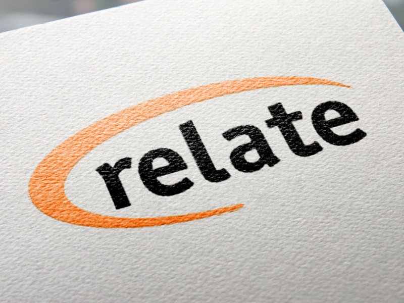 Relate Logo orange swoosh vector type graphic design typography logo branding design