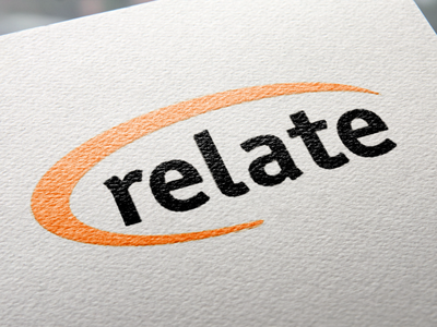 Relate Logo orange swoosh vector type graphic design typography logo branding design