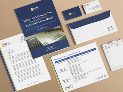 Ansir International Stationery layout typography design blue and gold corporate branding envelope white paper presentation memo business card letterhead stationery sales dentist