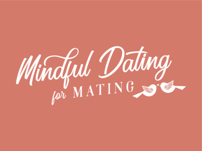 Mindful Dating Logo Design handdrawing illustration logo branding romantic cursive pink mating lovebirds matchmaking workshop holistic dating