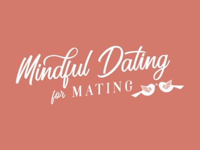 Mindful Dating Logo Design handdrawing illustration logo branding romantic cursive pink mating lovebirds matchmaking workshop holistic dating