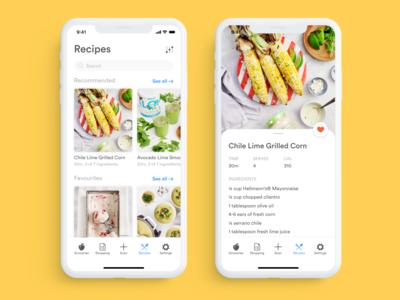 recipe catalogue grocery app food app recipes recipe app recipe groceries mobile ux app ui design