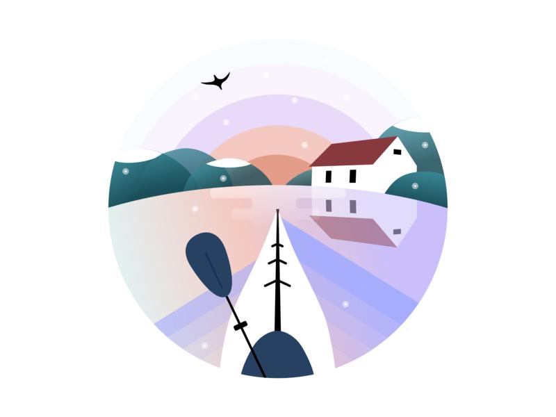 kayak vector illustration design