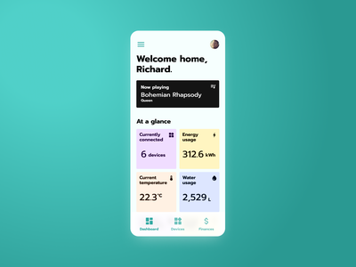 Home monitoring dashboard | Daily UI #021 now playing water energy consumption meters finances home monitoring dailyui021 dailyui 021 daily ui 021 021 dashboard smart home app interface dailyui design ux figma ui