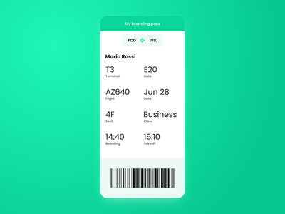 Boarding pass | Daily UI #024 flight journey trip travel plane airport mobile dailyui024 dailyui 024 daily ui 024 024 boarding boarding pass app interface dailyui design ux figma ui