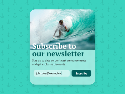 Subscribe | Daily UI #026 sign up popup modal surfing surf water aqua dailyui026 dailyui 026 daily ui 026 026 subscribe newsletter website interface dailyui design ux figma ui