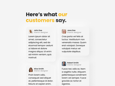 Testimonials | Daily UI #039 neumorphism customers home page product page landing page comments reviews testimonials 039 dailyui039 dailyui 039 daily ui 039 website interface daily ui dailyui design ux figma ui