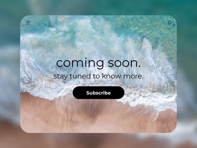 Coming soon | Daily UI #048 beach shore desktop website landing page subscribe stay tuned wait coming soon dailyui048 dailyui 048 daily ui 048 048 daily ui interface dailyui design ux figma ui