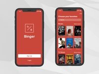 'Binger' iOS — Sign In/Up Screen