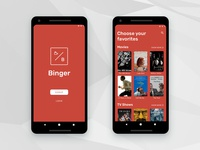 'Binger' Android — Sign In/Up Screen
