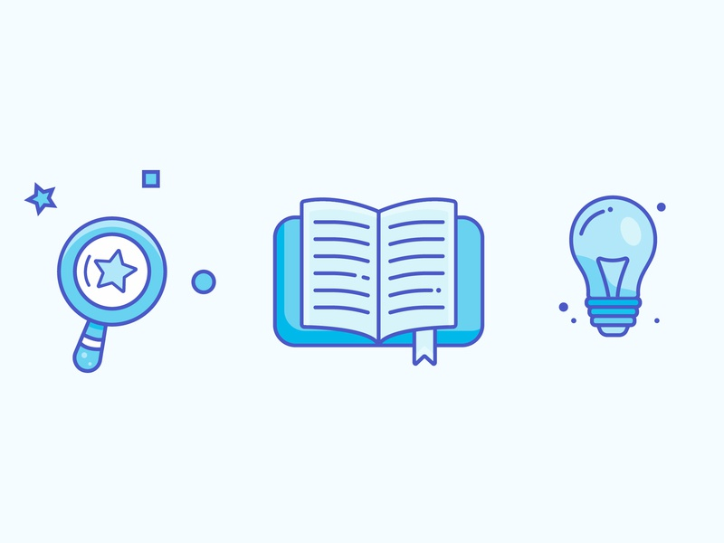 Searching For Ideas book lamp icon logo minimal illustrator vector illustration design