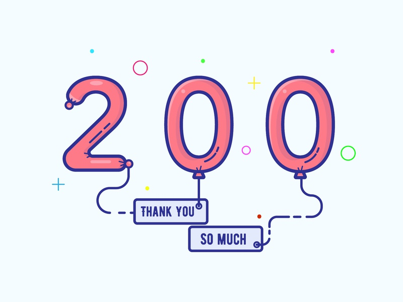 Thank you ! instagram 200mark 200 icon logo minimal illustrator vector illustration design